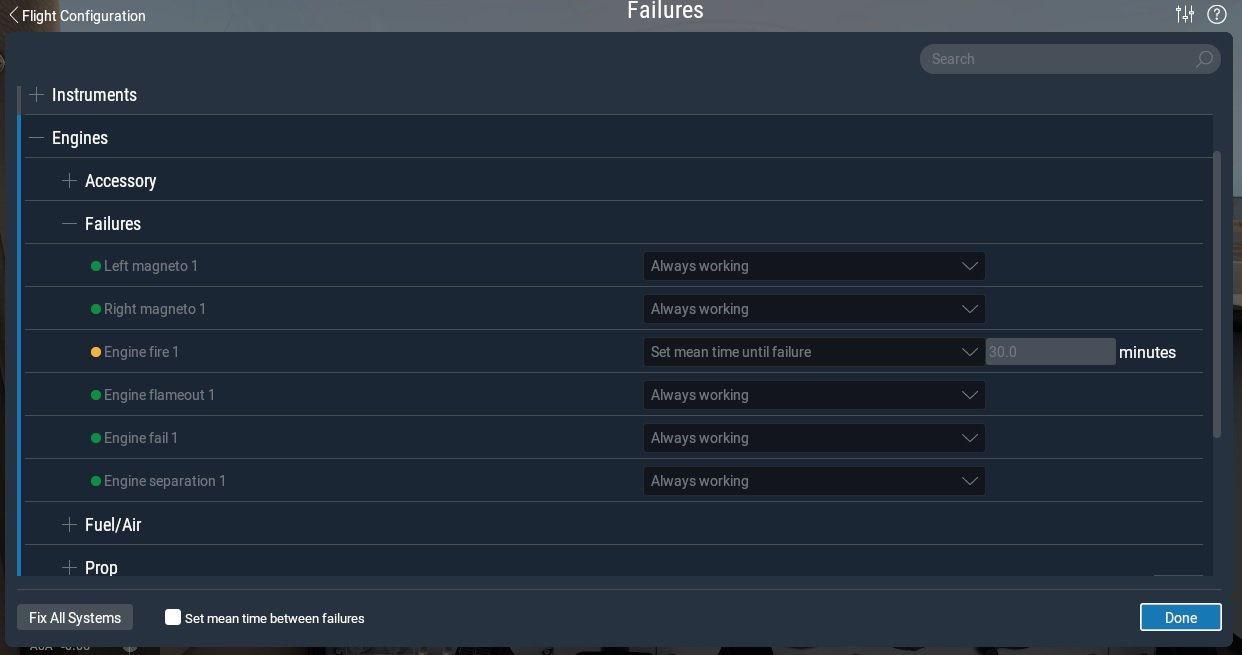 Setting up failures in X-Plane 11