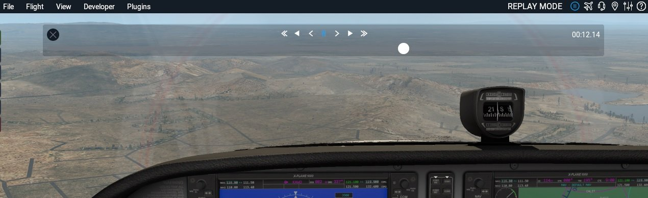 Depiction of the replay mode in X-Plane 11
